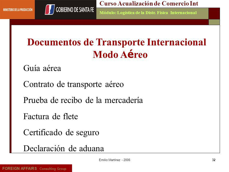 Documentos de Transporte Internacional Modo Aéreo