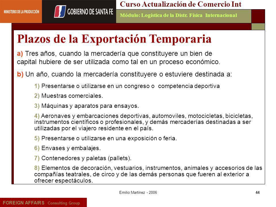 Plazos de la Exportación Temporaria