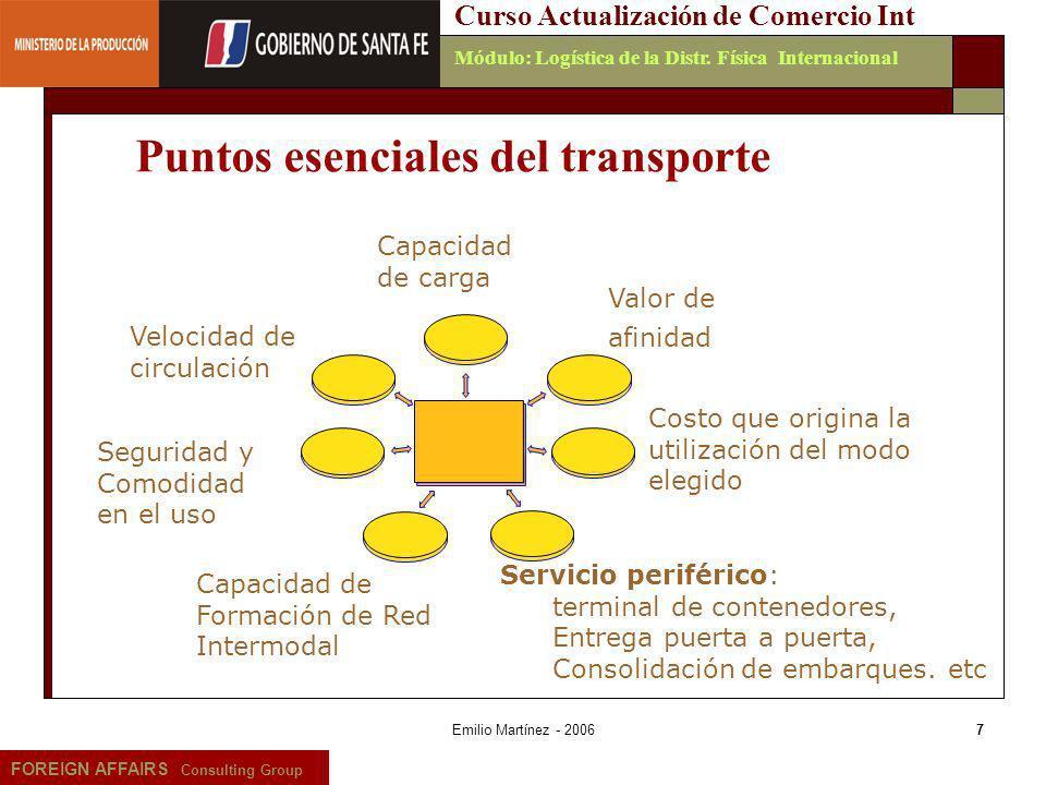 Puntos esenciales del transporte