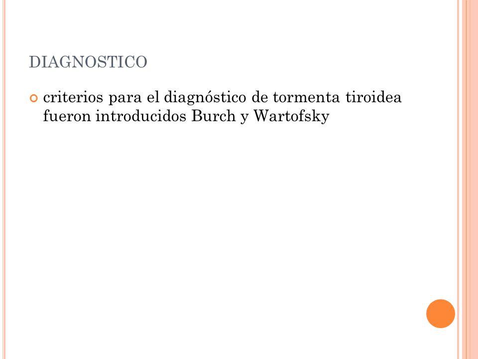 diagnostico criterios para el diagnóstico de tormenta tiroidea fueron introducidos Burch y Wartofsky.