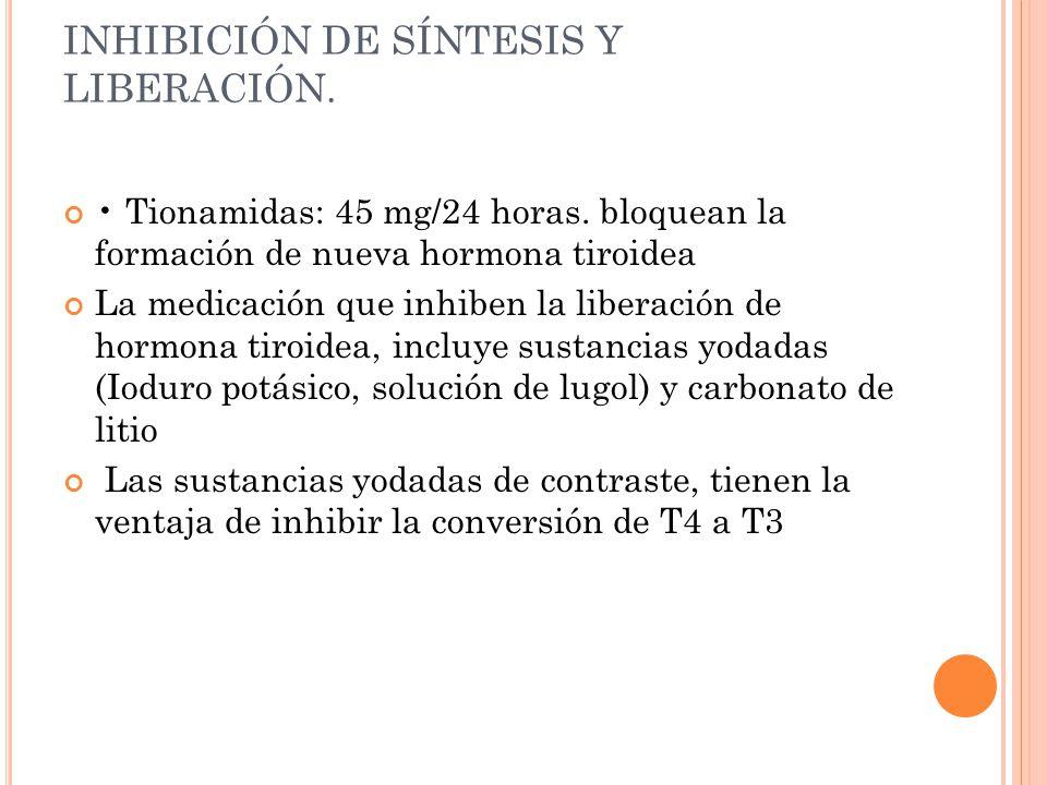 INHIBICIÓN DE SÍNTESIS Y LIBERACIÓN.
