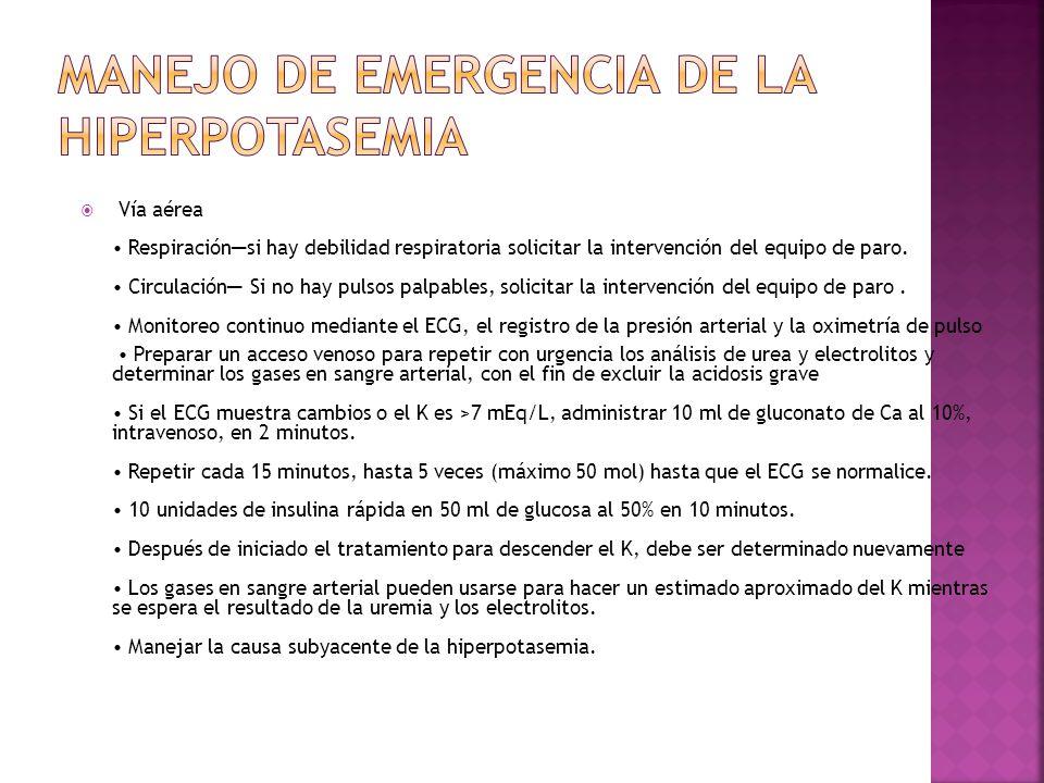 Manejo de emergencia de la hiperpotasemia