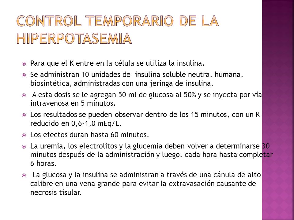 Control temporario de la hiperpotasemia