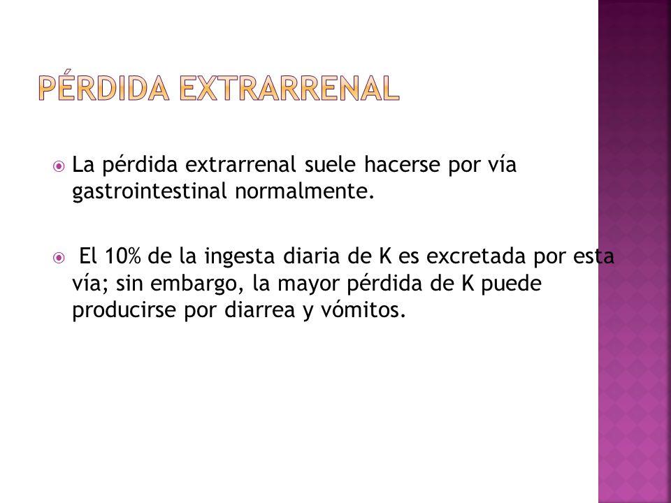 Pérdida extrarrenal La pérdida extrarrenal suele hacerse por vía gastrointestinal normalmente.