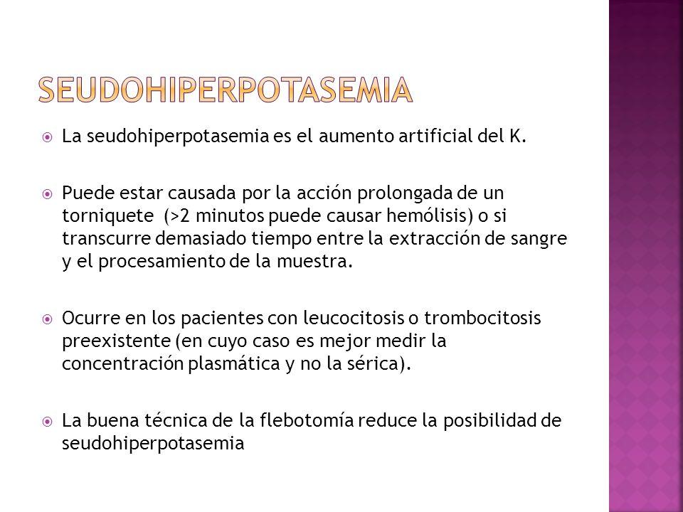 Seudohiperpotasemia La seudohiperpotasemia es el aumento artificial del K.