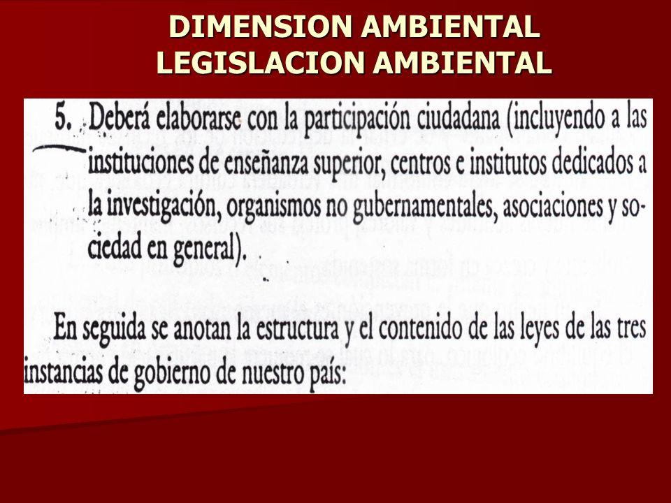 DIMENSION AMBIENTAL LEGISLACION AMBIENTAL