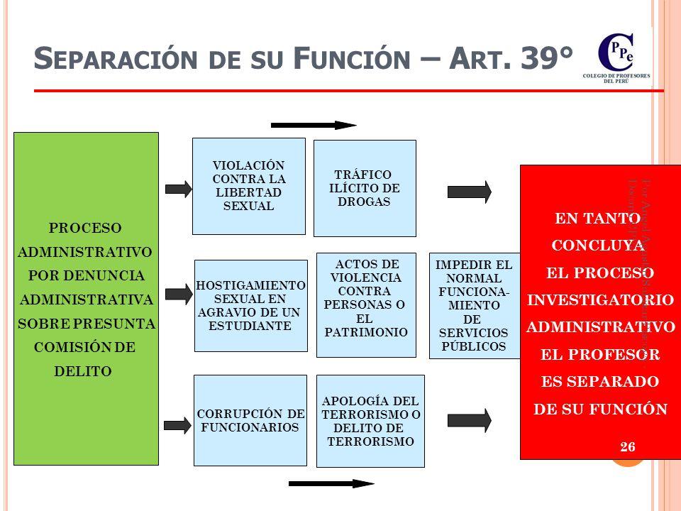 Separación de su Función – Art. 39°