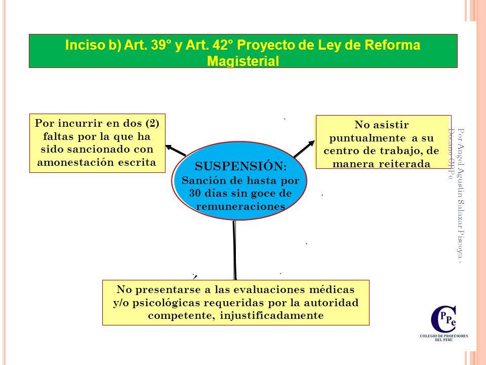 Inciso b) Art. 39° y Art. 42° Proyecto de Ley de Reforma Magisterial