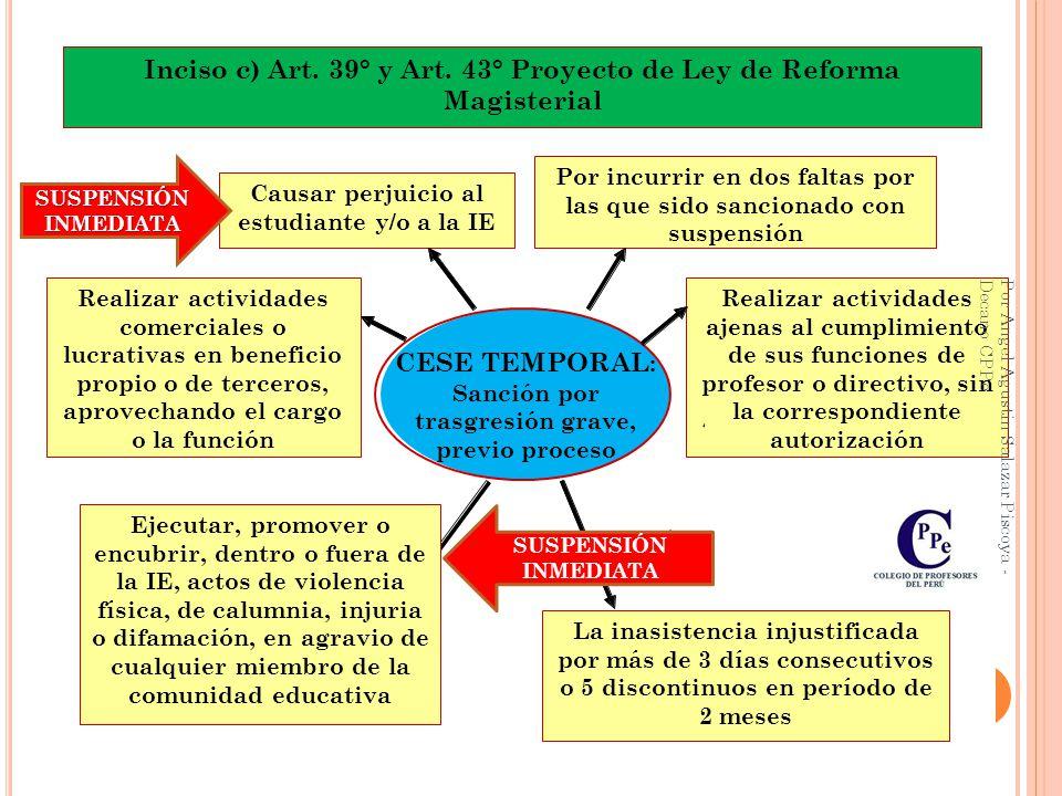 Inciso c) Art. 39° y Art. 43° Proyecto de Ley de Reforma Magisterial