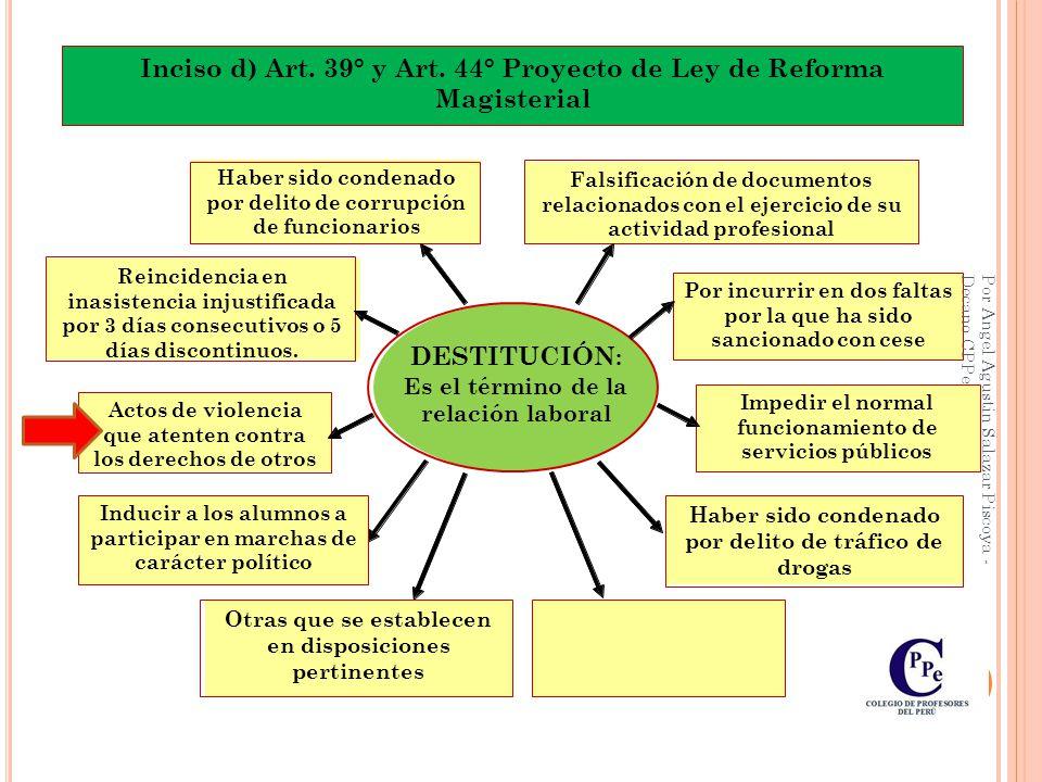Inciso d) Art. 39° y Art. 44° Proyecto de Ley de Reforma Magisterial