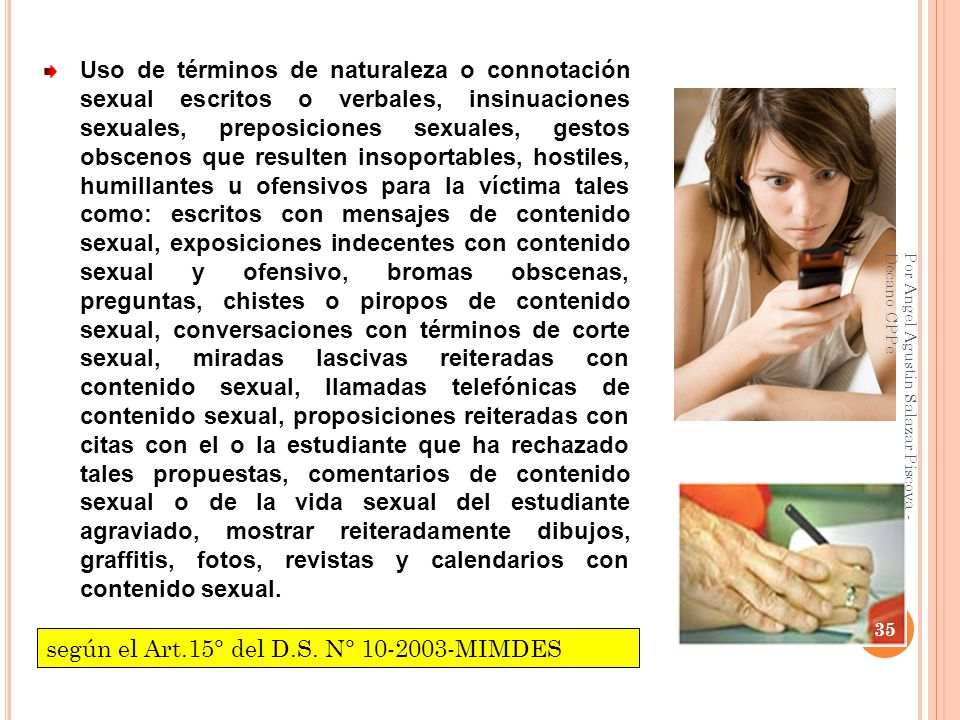 según el Art.15° del D.S. N° 10-2003-MIMDES