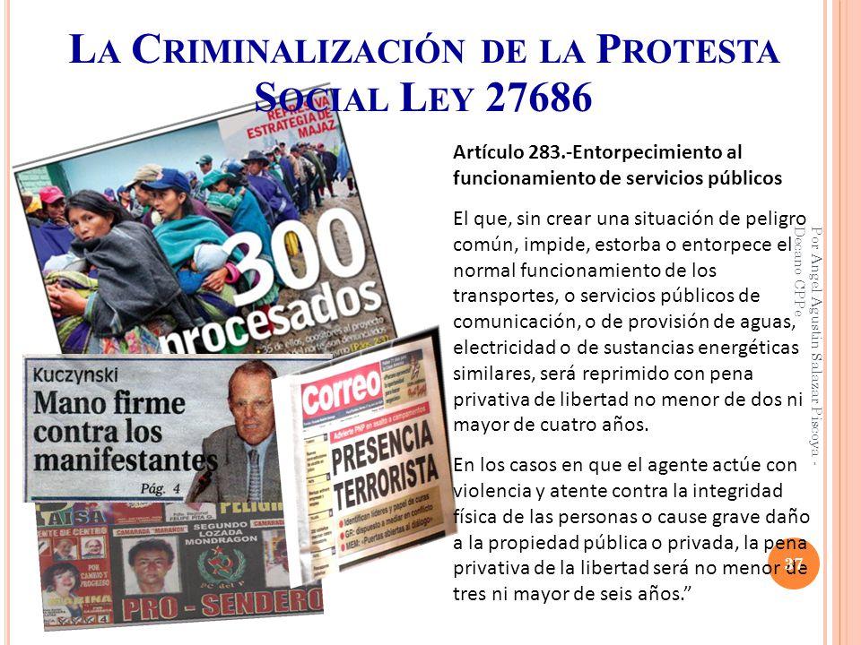 La Criminalización de la Protesta Social Ley 27686