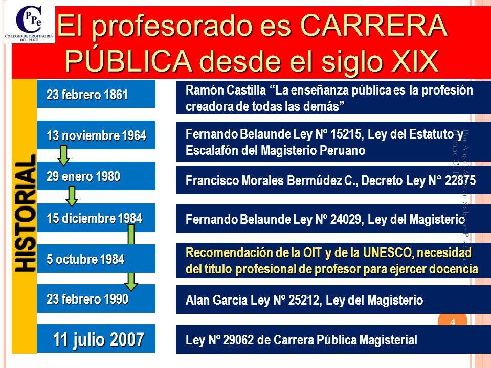 El profesorado es CARRERA PÚBLICA desde el siglo XIX