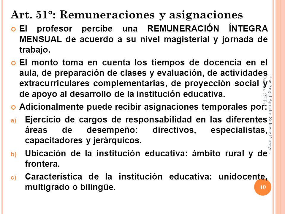 Art. 51°: Remuneraciones y asignaciones