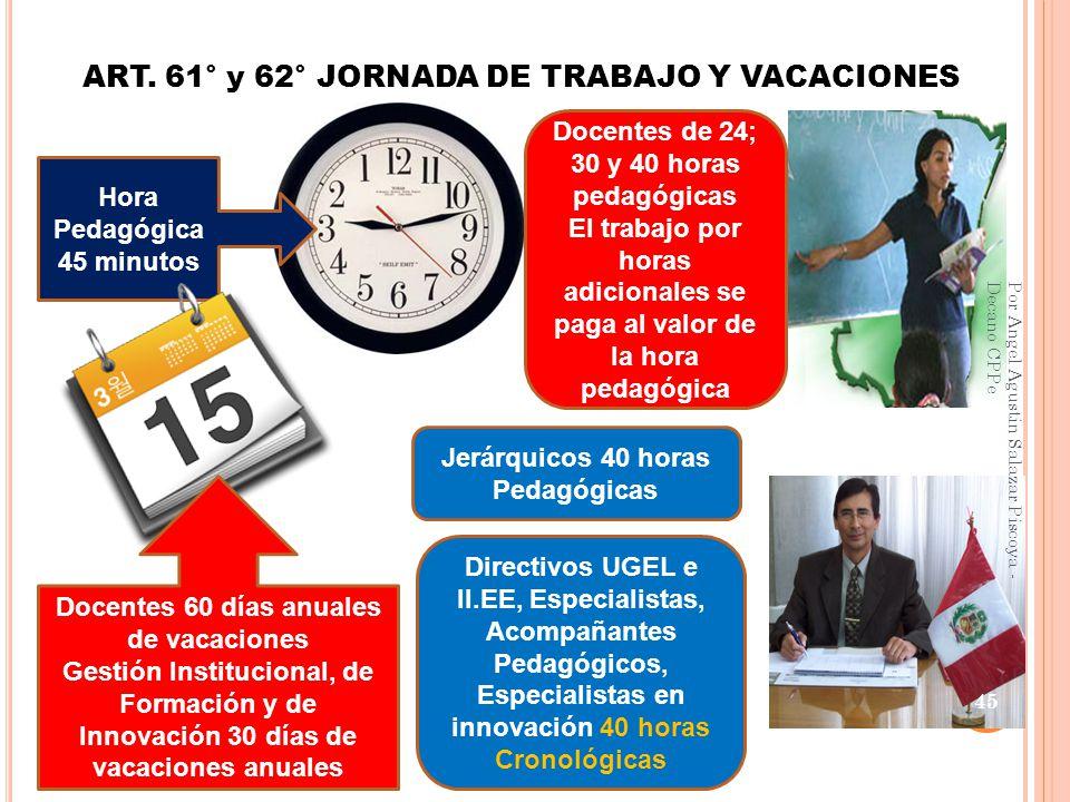 ART. 61° y 62° JORNADA DE TRABAJO Y VACACIONES