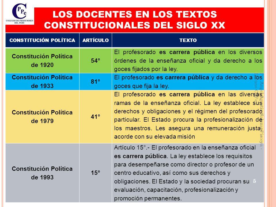 LOS DOCENTES EN LOS TEXTOS CONSTITUCIONALES DEL SIGLO XX