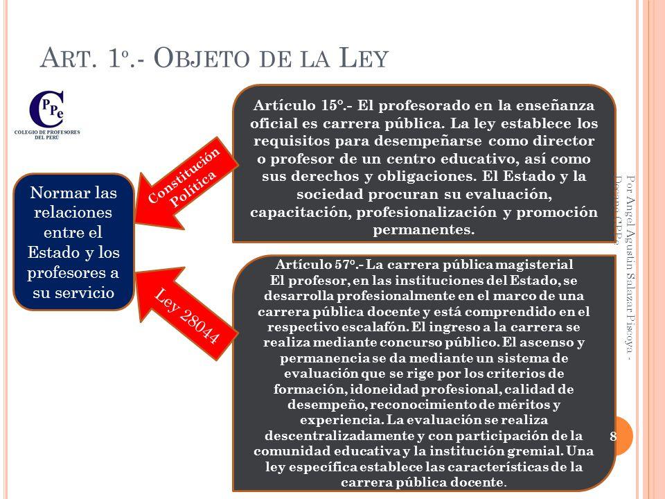 Constitución Política Artículo 57°.- La carrera pública magisterial