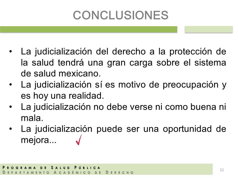 CONCLUSIONES La judicialización del derecho a la protección de la salud tendrá una gran carga sobre el sistema de salud mexicano.