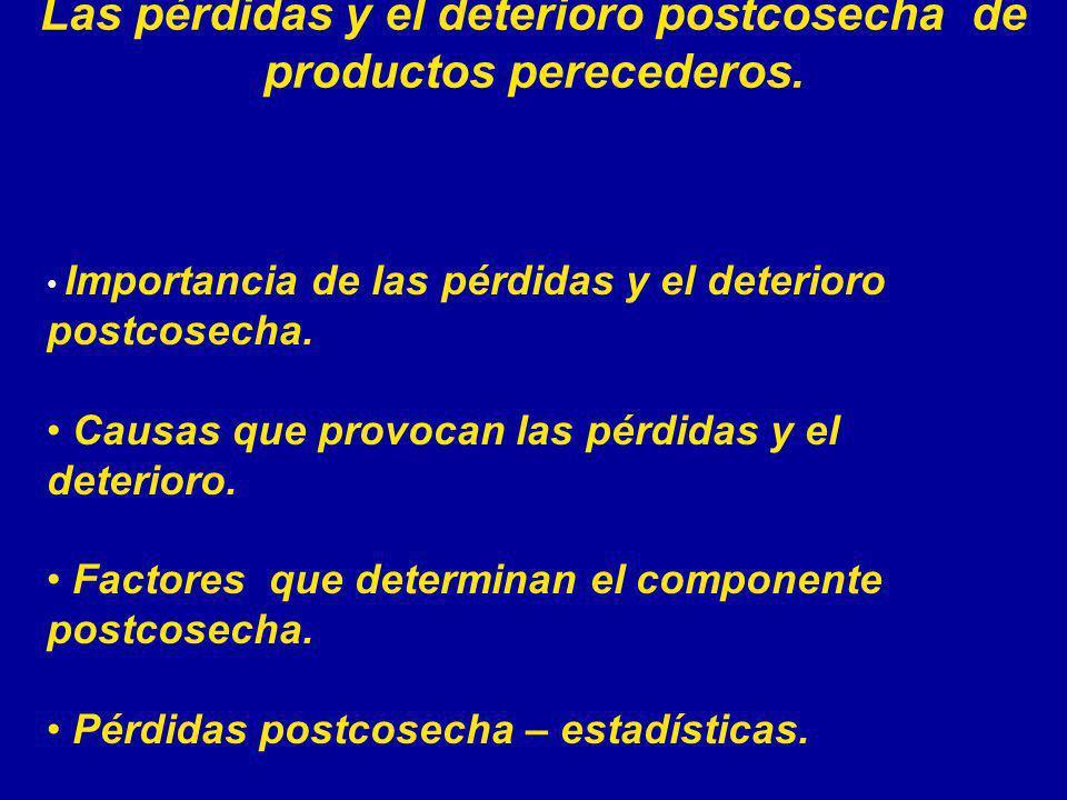 Las pérdidas y el deterioro postcosecha de productos perecederos.