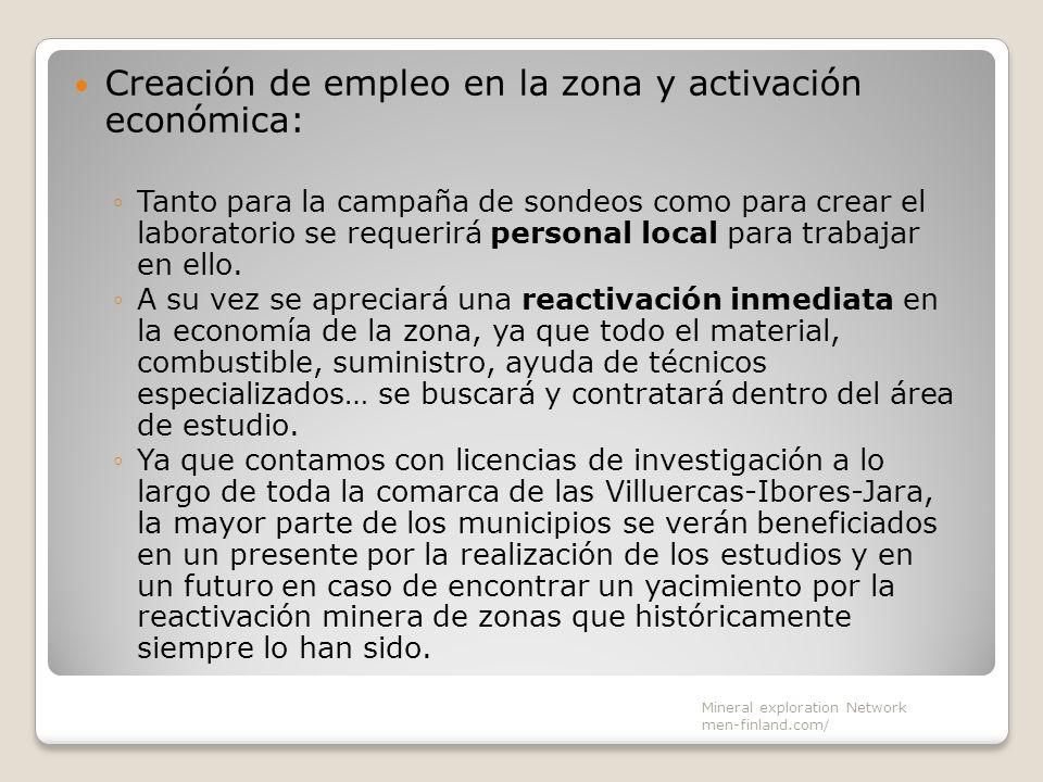 Creación de empleo en la zona y activación económica:
