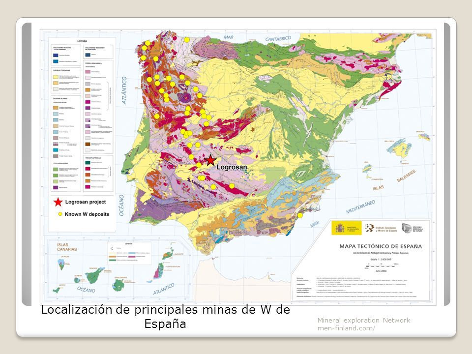 Localización de principales minas de W de España