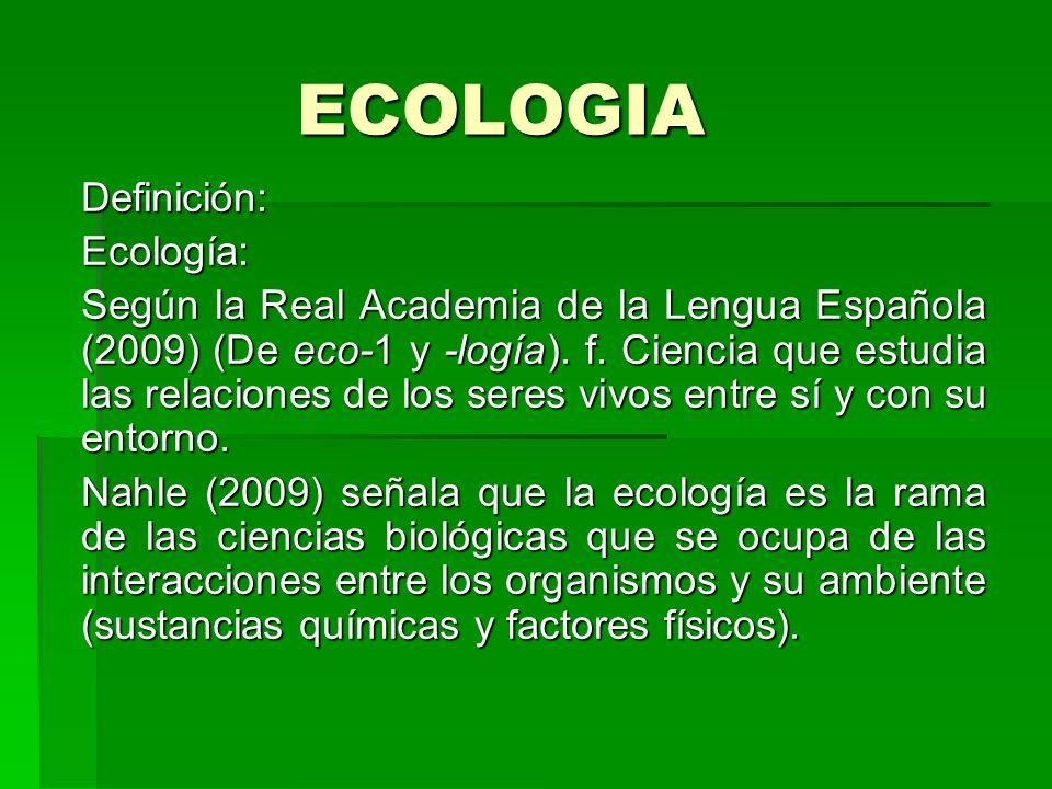 ECOLOGIA Definición: Ecología: