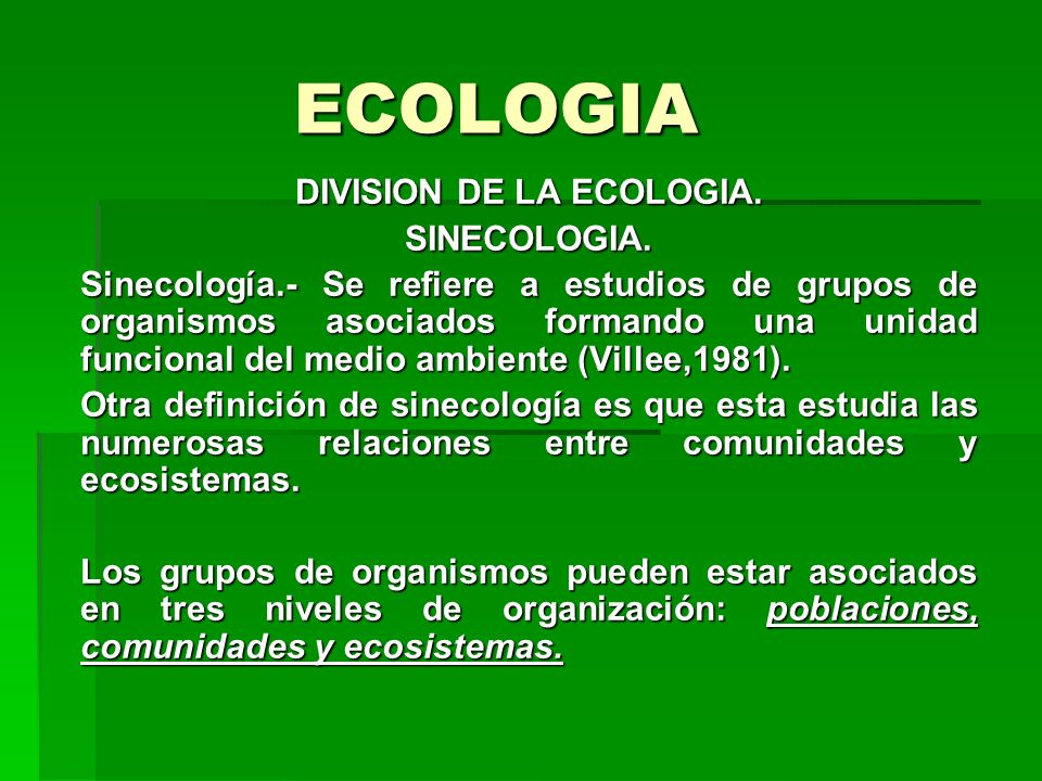DIVISION DE LA ECOLOGIA.
