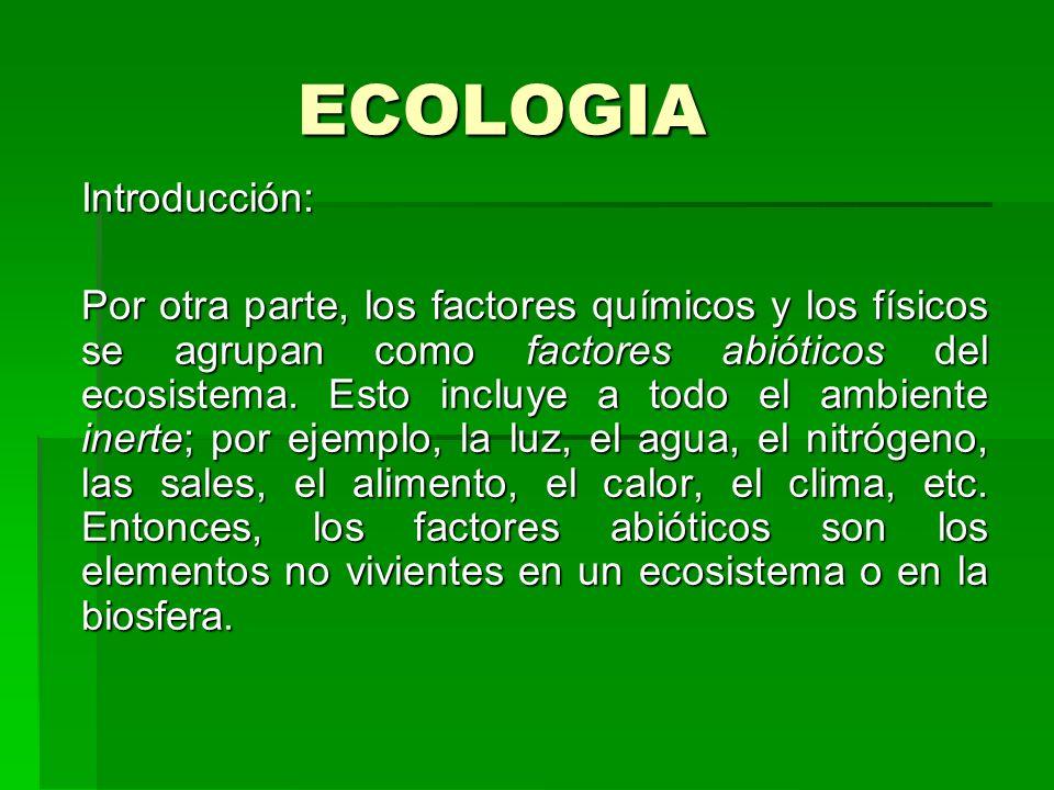 ECOLOGIA Introducción: