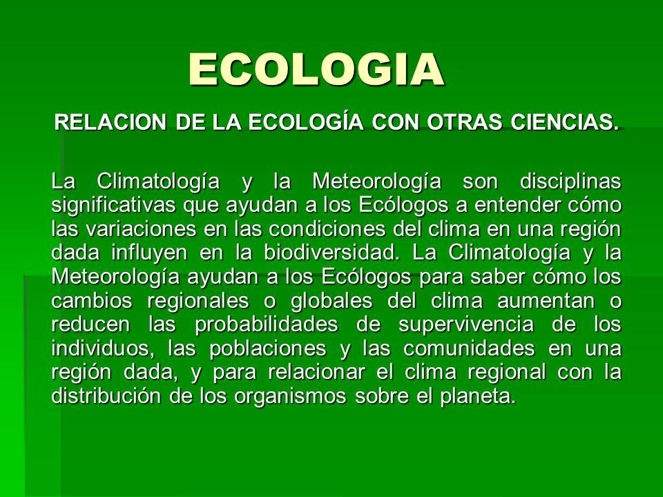 RELACION DE LA ECOLOGÍA CON OTRAS CIENCIAS.