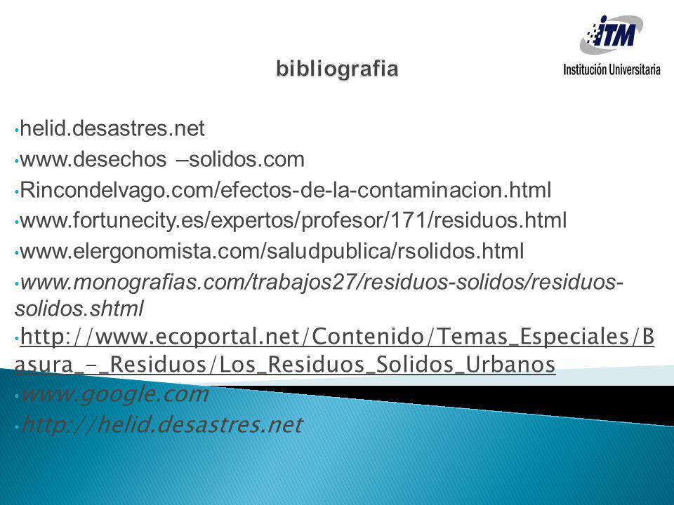 bibliografia helid.desastres.net. www.desechos –solidos.com. Rincondelvago.com/efectos-de-la-contaminacion.html.
