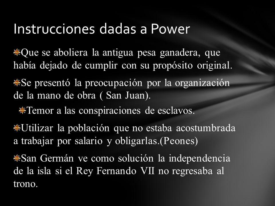 Instrucciones dadas a Power