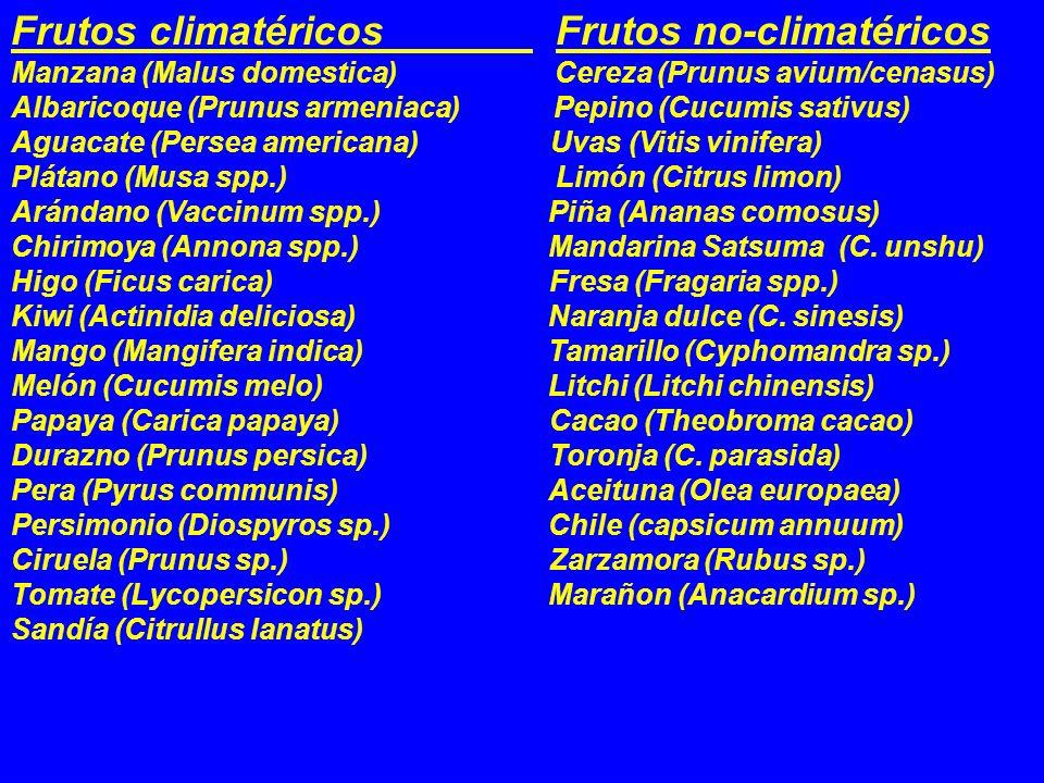Frutos climatéricos Frutos no-climatéricos