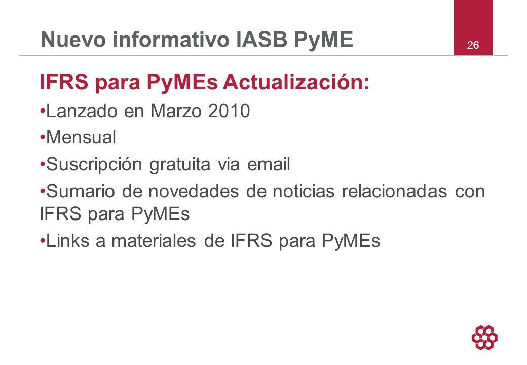 Nuevo informativo IASB PyME