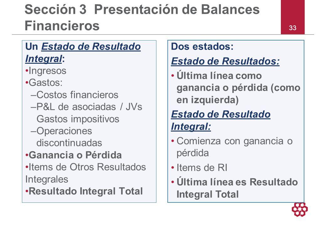 Sección 3 Presentación de Balances Financieros
