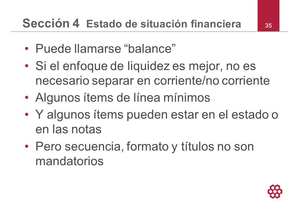 Sección 4 Estado de situación financiera