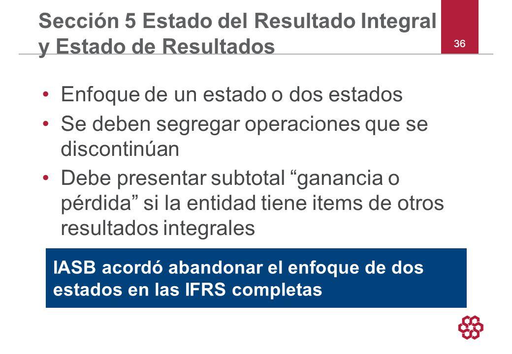 Sección 5 Estado del Resultado Integral y Estado de Resultados
