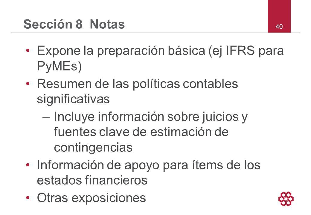 Sección 8 Notas Expone la preparación básica (ej IFRS para PyMEs) Resumen de las políticas contables significativas.