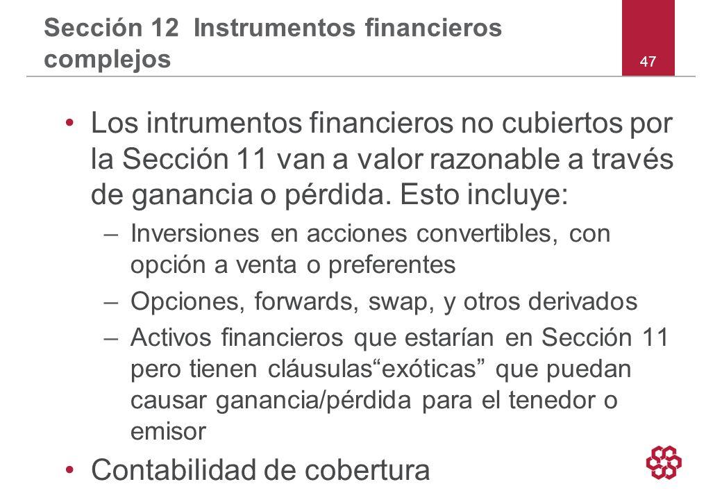 Sección 12 Instrumentos financieros complejos
