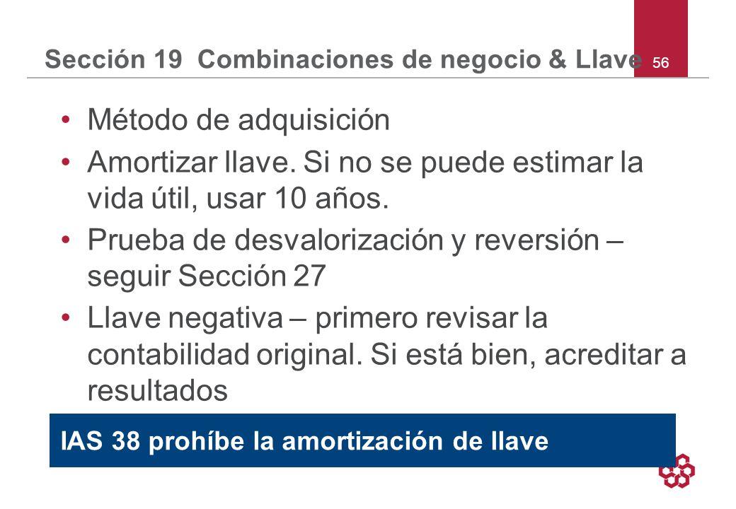 Sección 19 Combinaciones de negocio & Llave