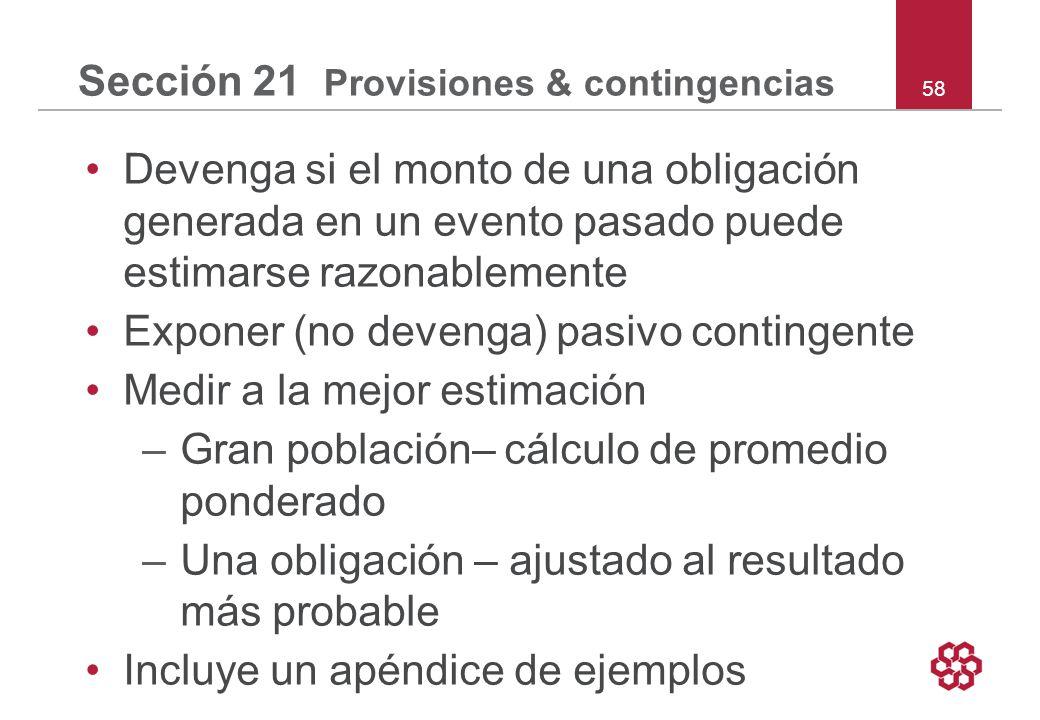 Sección 21 Provisiones & contingencias