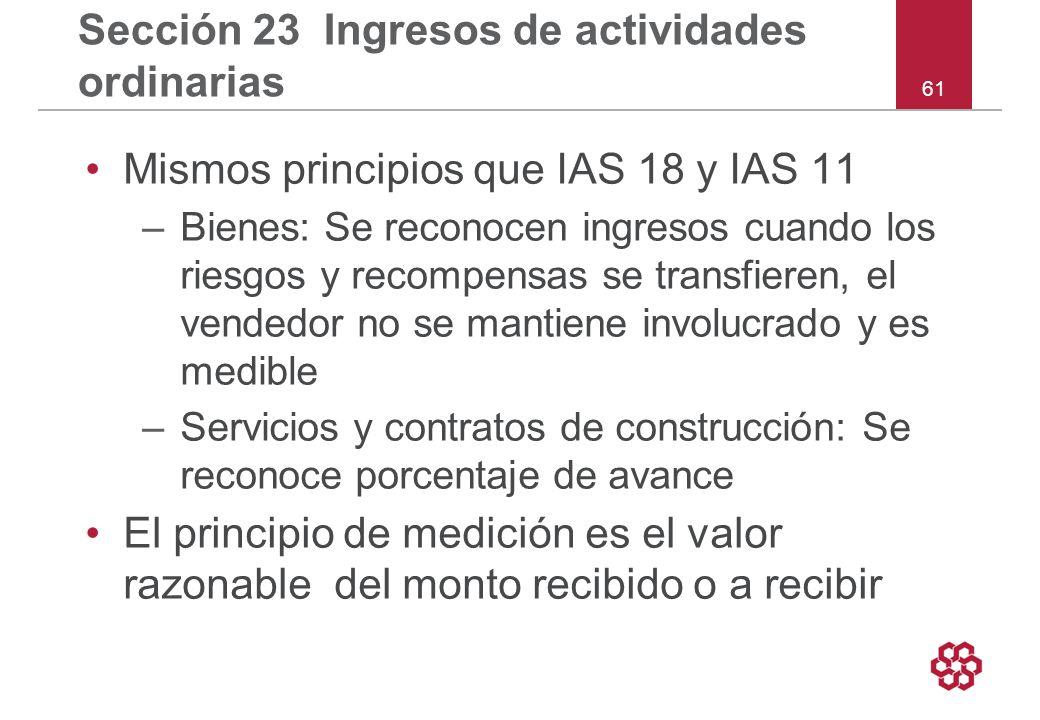 Sección 23 Ingresos de actividades ordinarias