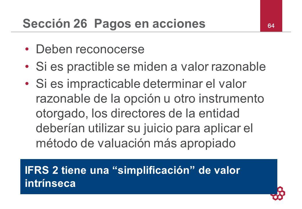 Sección 26 Pagos en acciones