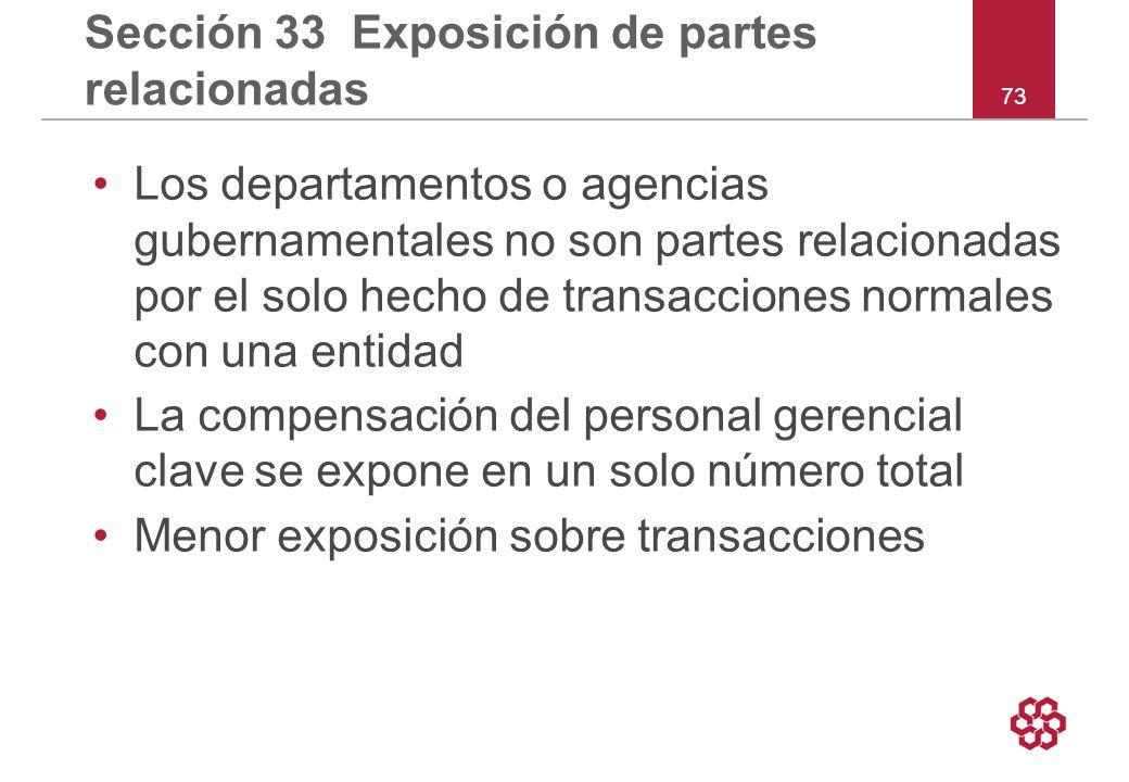 Sección 33 Exposición de partes relacionadas
