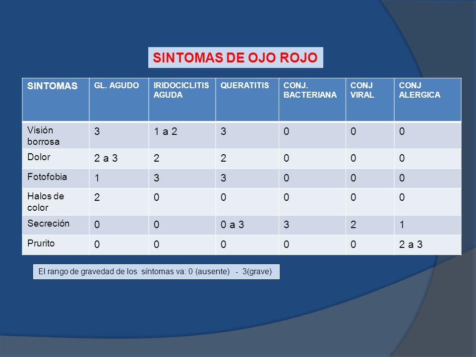 SINTOMAS DE OJO ROJO 3 1 a 2 2 a 3 2 1 0 a 3 SINTOMAS Visión borrosa