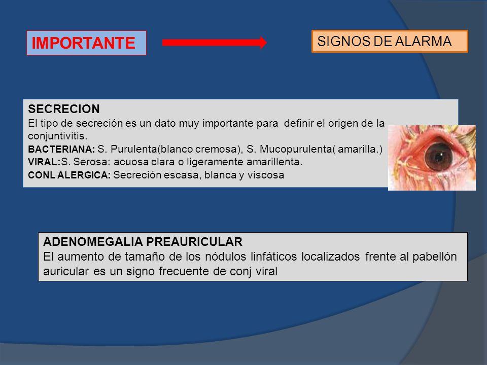 IMPORTANTE SIGNOS DE ALARMA SECRECION ADENOMEGALIA PREAURICULAR