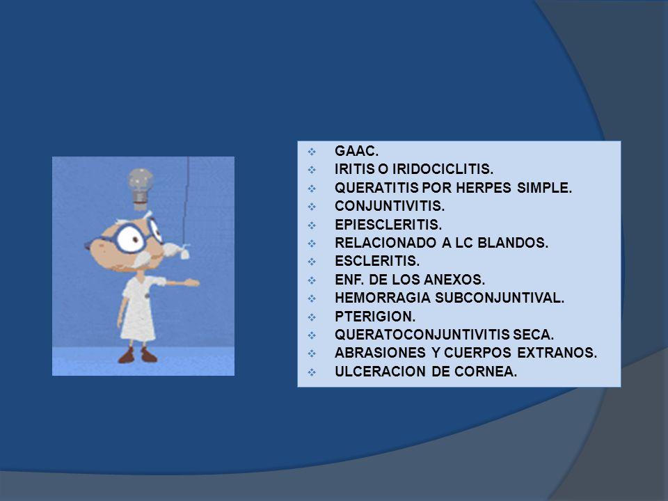 GAAC. IRITIS O IRIDOCICLITIS. QUERATITIS POR HERPES SIMPLE. CONJUNTIVITIS. EPIESCLERITIS. RELACIONADO A LC BLANDOS.