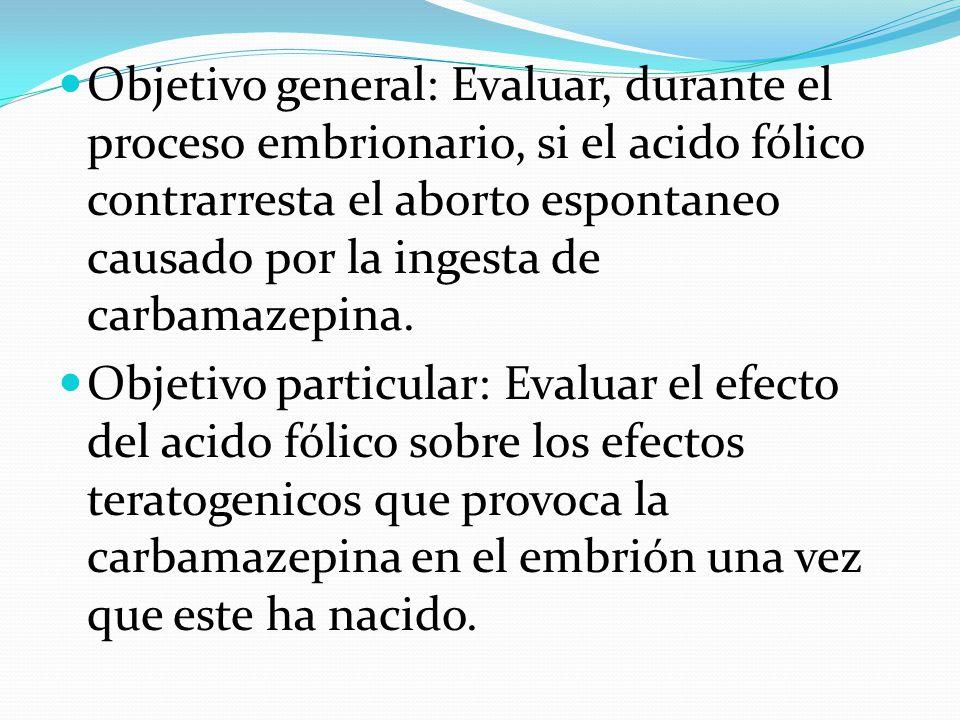 Objetivo general: Evaluar, durante el proceso embrionario, si el acido fólico contrarresta el aborto espontaneo causado por la ingesta de carbamazepina.
