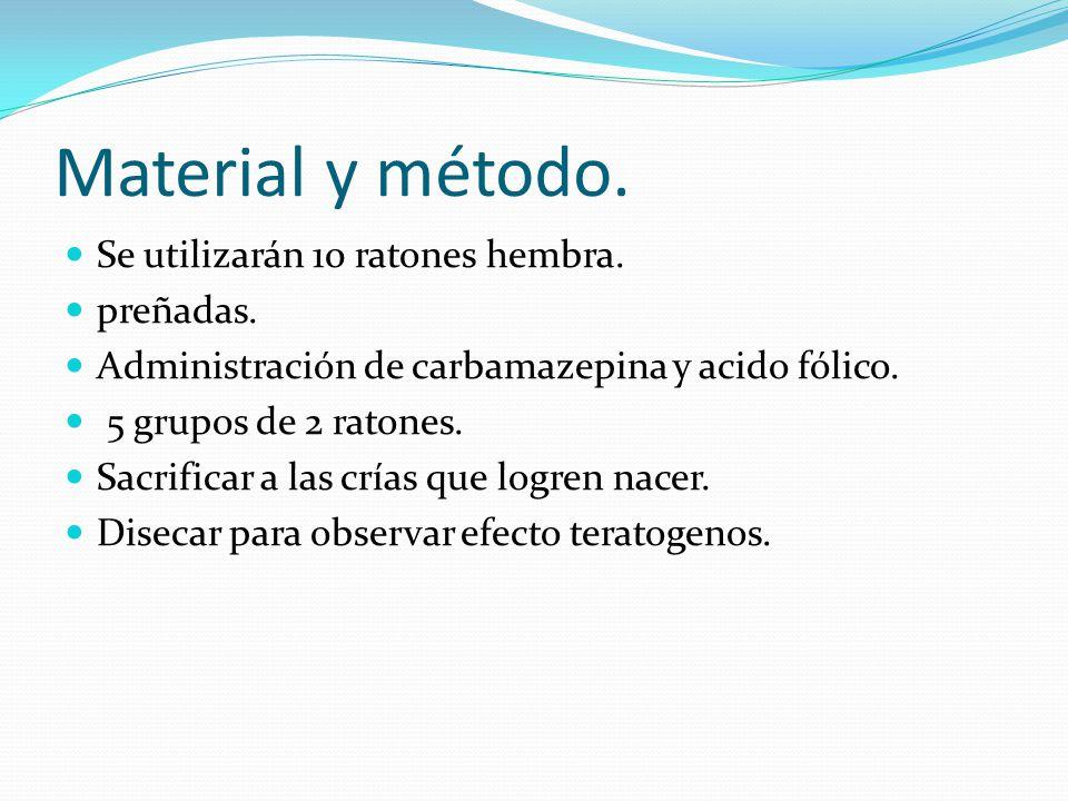 Material y método. Se utilizarán 10 ratones hembra. preñadas.