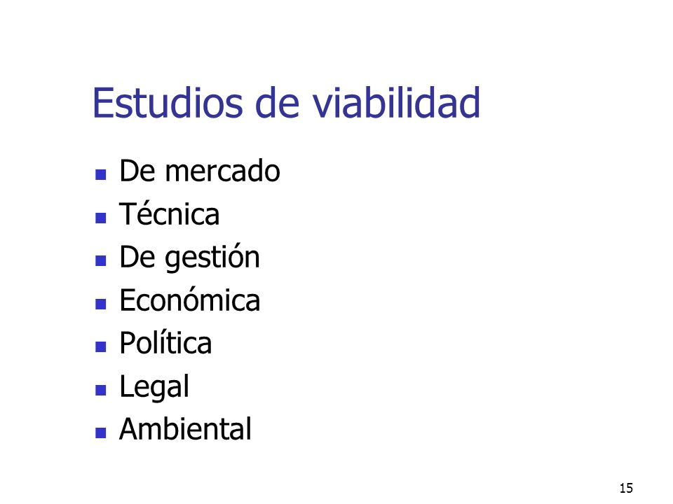 Estudios de viabilidad