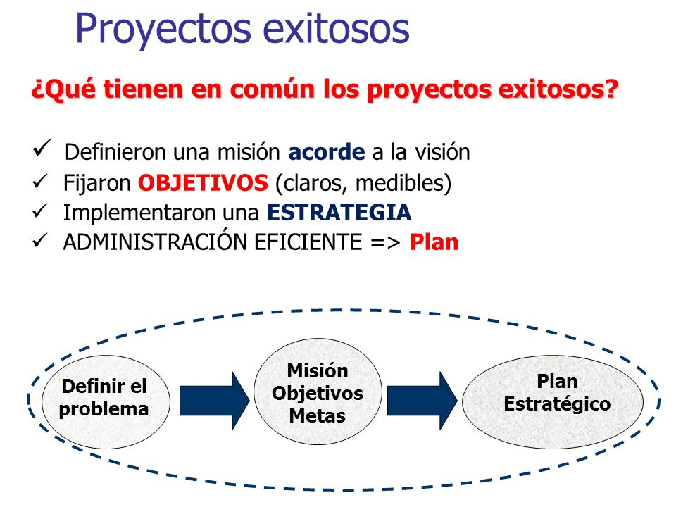 Proyectos exitosos Definieron una misión acorde a la visión